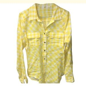 Gibson yellow and white button down blouse
